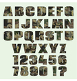 Camouflage font and numbers Font for advertising vector image