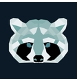 Green and black low poly raccoon vector image