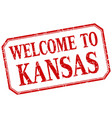 Kansas - welcome red vintage isolated label vector image