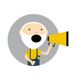 old man with megaphone round avatar icon vector image