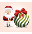 santa claus card with big ball white and green vector image