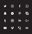 White social media icon set vector image