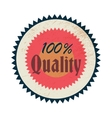 100 percent quality label vintage style vector image