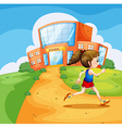 A girl running near the school vector image