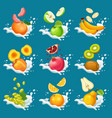 natural fruits in milk splashes collection vector image