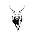 Black silhouette of a bull on a white background vector image vector image