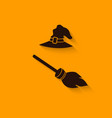 halloween Witch hat and broom vector image