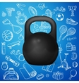 kettlebell and hand draw sport icon vector image
