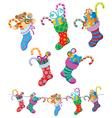 christmas socks vector image vector image