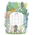 Calendar 2016 with nature theme - trees and vector image vector image