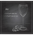 Kir alcohol cocktail on black board vector image