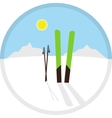 cartoon circle winter symbol icon with skis vector image
