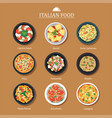 set of italian food flat design vector image