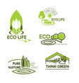 eco life think green icon set for ecology design vector image vector image