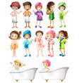 happy children in bathrobe vector image vector image