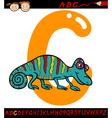 letter c for chameleon cartoon vector image