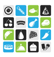 Silhouette Different kind of food icons vector image vector image