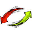 isolated red and green arrows vector image