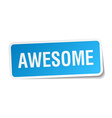 awesome blue square sticker isolated on white vector image