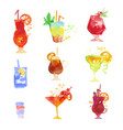 cocktails set summer drinks colorful watercolor vector image