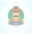 Farmer in an overalls and a hat village man icon vector image
