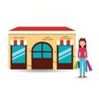fashion girl shopping bags gift vector image