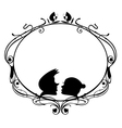 Original decorative frame with loving coupl vector image