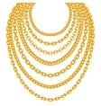 Golden metallic chain necklaces set vector image
