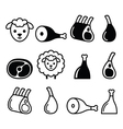 Lamb meat leg of lamb lamb shanks and ribs icons vector image