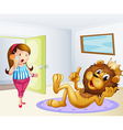 A fat lady and a lion inside a room vector image