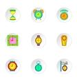 Chronometer icons set cartoon style vector image