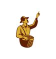 Fruit Picker Worker Pointing Woodcut vector image vector image