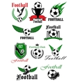 Football icons with sport game items vector image