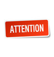 attention red square sticker isolated on white vector image