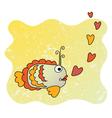 Cute cartoon fish in love vector image