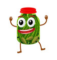 funny pickles glass jar character vector image