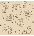 Seamless background with playful cats vector image