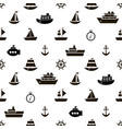 seamless pattern with black sea transport icons vector image vector image