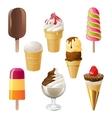 Ice cream icons vector image vector image