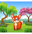 Cute little fox sitting vector image