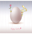 Chicken egg with easter bunny icon vector image