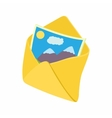 Envelope and photo icon cartoon style vector image