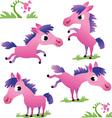 Set of cute cartoon pony vector image vector image