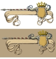 Color banner spear and crown vector image