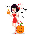 devil girl for halloween with pumpkin and bats vector image