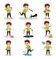 Cartoon character of naughty kid set playing vector image
