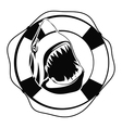 Shark in Lifebuoy on a white background vector image vector image