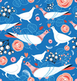 bright pattern with flowers and birds vector image vector image