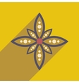Modern flat icon with long shadow Indian flower vector image