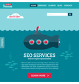 Flat design website template of SEO with submarine vector image